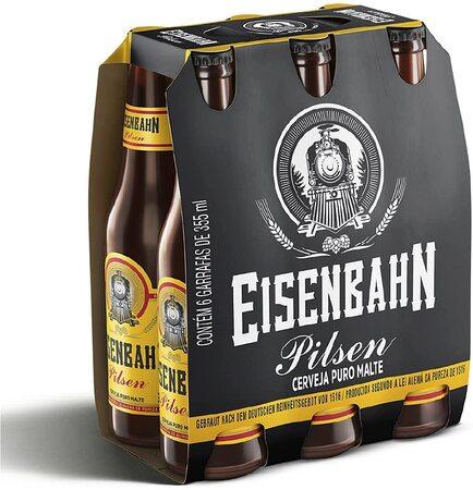 Cerveja eisenbahn pilsen puro malte long neck 6 unid
