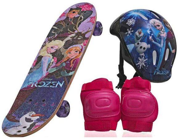 Skate infantil frozen com proteção